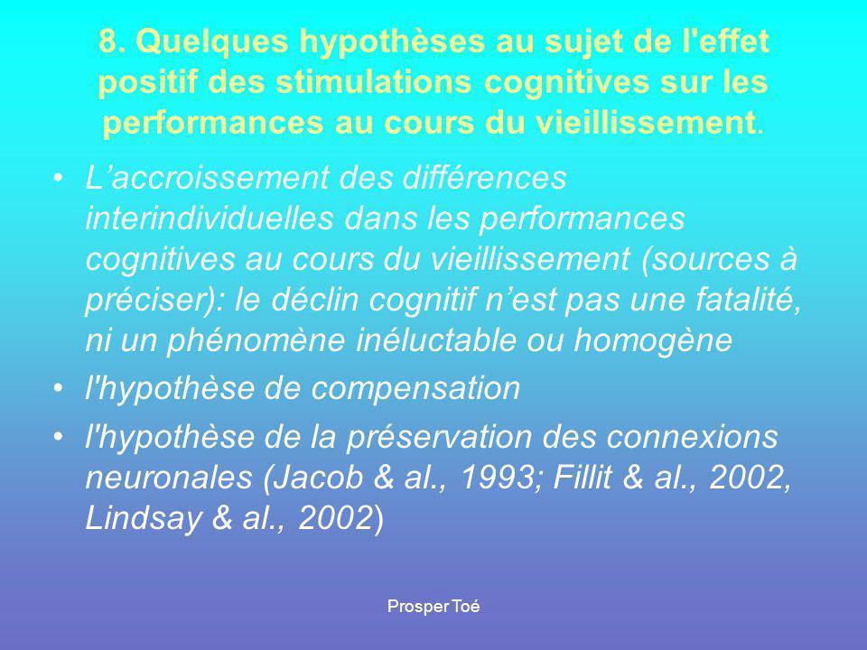 Prosper Toé 8. Quelques hypothèses au sujet de l'effet positif des stimulations cognitives sur les performances au cours du vieillissement. •L'accrois