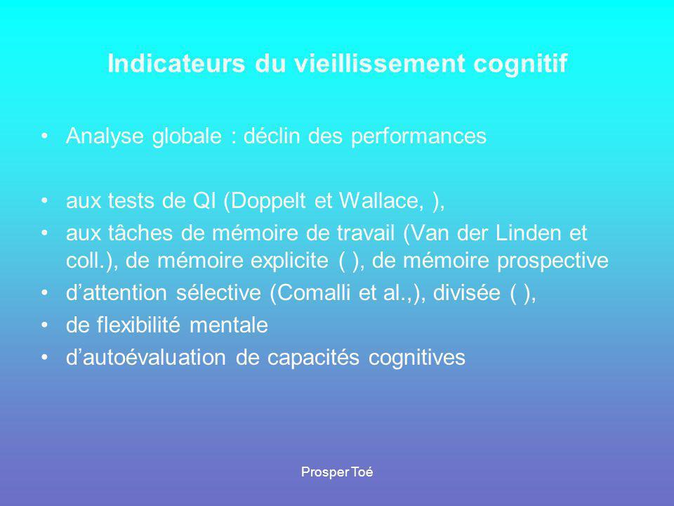 Prosper Toé Indicateurs du vieillissement cognitif •A•Analyse globale : déclin des performances •a•aux tests de QI (Doppelt et Wallace, ), •a•aux tâch