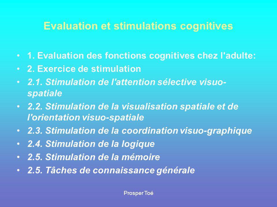 Prosper Toé Evaluation et stimulations cognitives •1•1. Evaluation des fonctions cognitives chez l'adulte: •2•2. Exercice de stimulation •2•2.1. Stimu