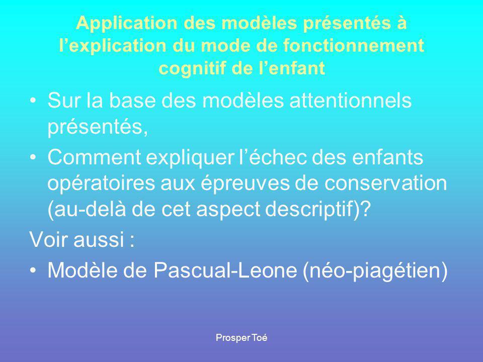 Prosper Toé Application des modèles présentés à l'explication du mode de fonctionnement cognitif de l'enfant •Sur la base des modèles attentionnels pr