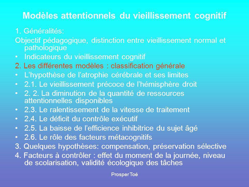 Prosper Toé Métacognition: définition et conceptualisation Définition: perception, croyance, confiance que nous avons en notre propre fonctionnement cognitif, notamment de mémoire Postulat de base: la peur induite par les stéréotypes à propos de l'évolution de la mémoire au cours du vieillissement et l'anxiété d'évaluation = un facteur d'accroissement des différences de performance (Cavanaugh, 2000, Hertzog & Hultsch, 2000) 4 dimensions possibles de la métacognition •Perception du vieillissement cognitif •Opinion sur nos aptitudes personnelles •Connaissance des stratégies internes (répétition mentale, visualisation, association mentale) ou externe (utilisation d aide mémoire pour les rendez-vous, les courses, planification des activités) •Utilisation de stratégies