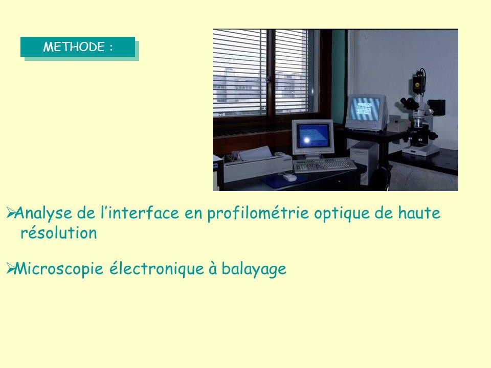 METHODE :  Analyse de l'interface en profilométrie optique de haute résolution  Microscopie électronique à balayage