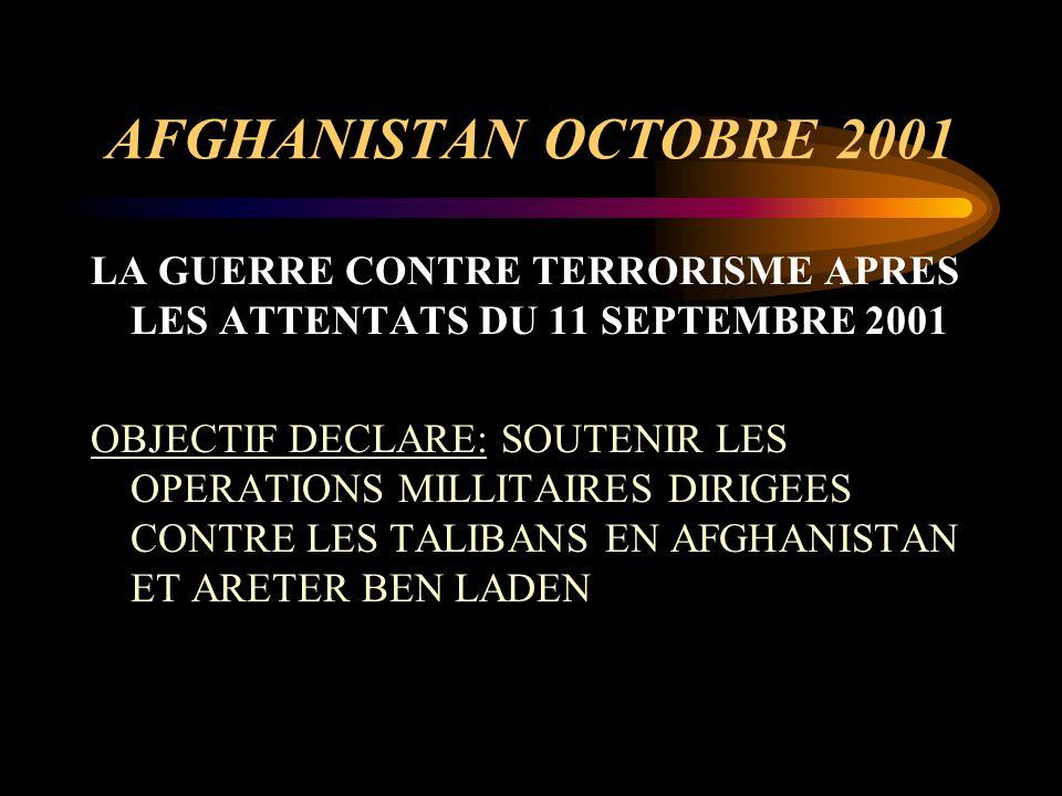 IRAK PRINTEMPS 2003 LA GUERRE CONTRE LE REGIME TOTALITAIRE DE SADDAM HUSSEIN OBJECTIF DECLARE: ARETER LA PRODUCTION D'ARMES DE DESTRUCTION MASSIVE ET VENIR EN AIDE AU PEUPLE IRAKIEN EN INSTALLANT UN SYSTEME DEMOCRATIQUE