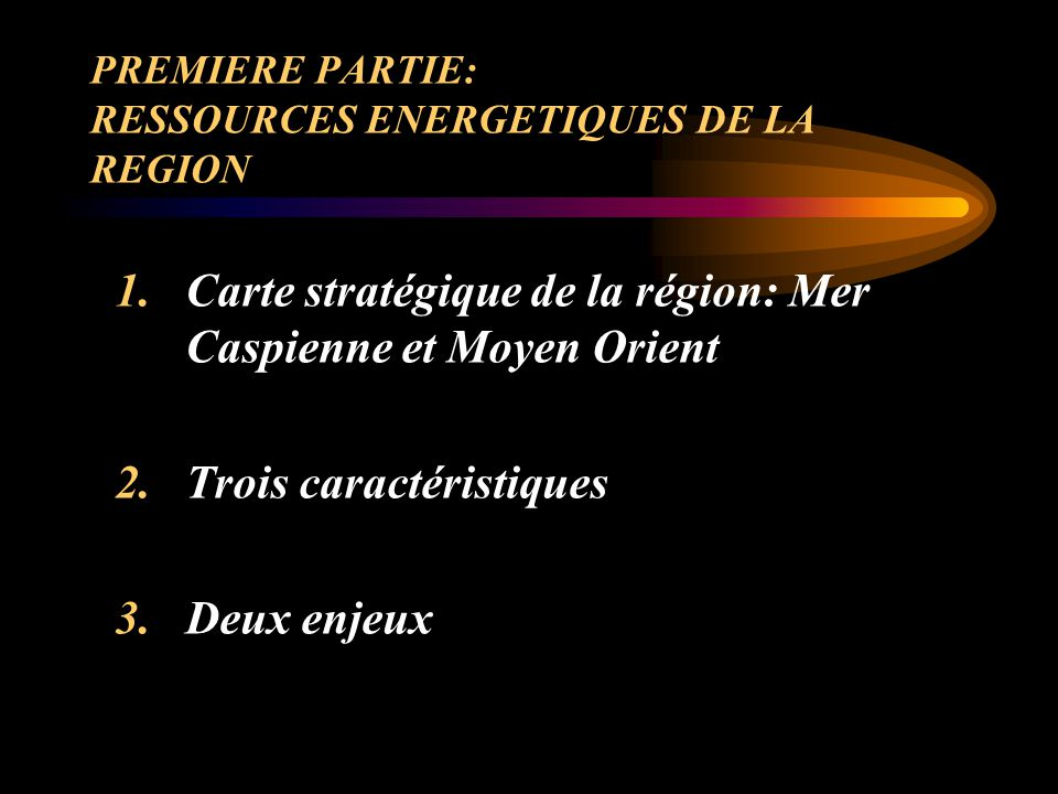 CARTE STRATEGIQUE DE LA REGION