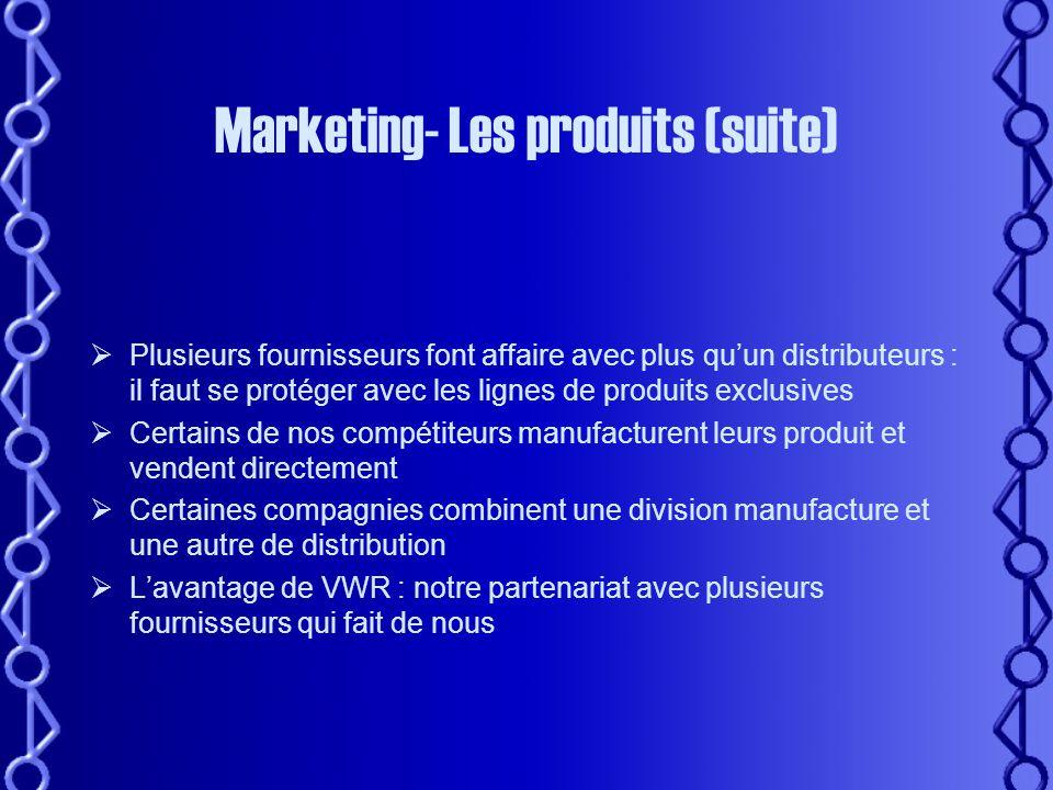 Marketing - Les produits •Équipements: Centrifugeuses, Congélateurs –80C, Hottes chimique, biologique, Spectros, Incubateurs, Thermocycleurs, etc…..