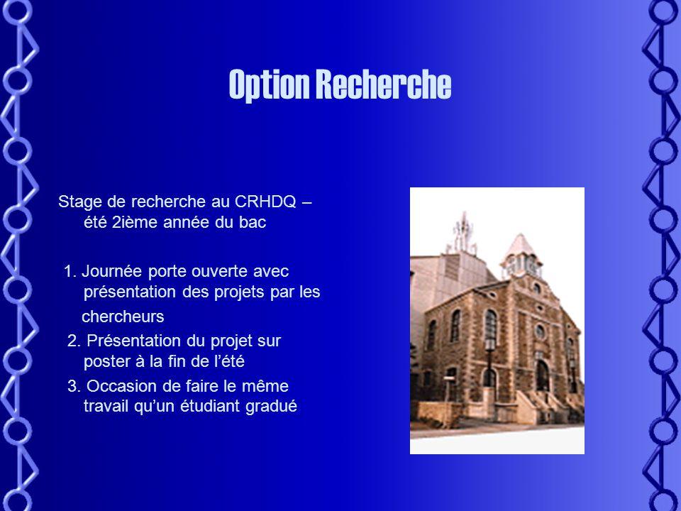 Mon cheminement – Les options •Bac en Biochimie – Promotion 2004 – Université Laval Qu'est-ce que je vais faire avec mon B.