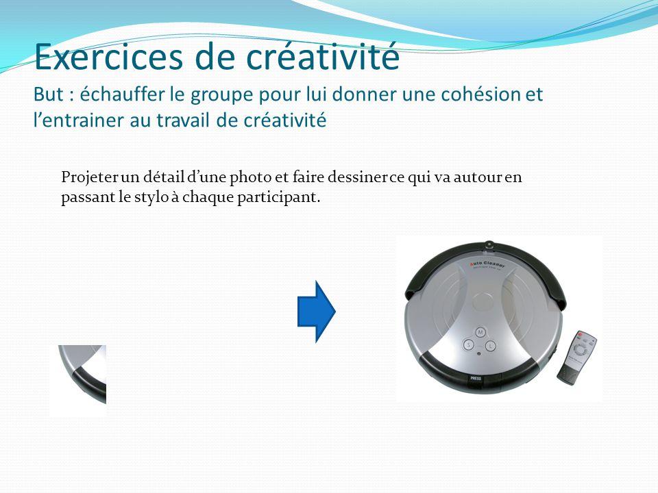 Exercices de créativité But : échauffer le groupe pour lui donner une cohésion et l'entrainer au travail de créativité Projeter un détail d'une photo