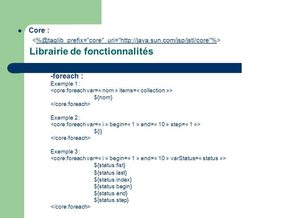 Librairie de fonctionnalités  Core : %@taglib prefix= core uri= http://java.sun.com/jsp/jstl/core % -foreach : Exemple 1 : ${nom} Exemple 2 : ${i} Exemple 3 : ${status.fist} ${status.last} ${status.index} ${status.begin} ${status.end} ${status.step}