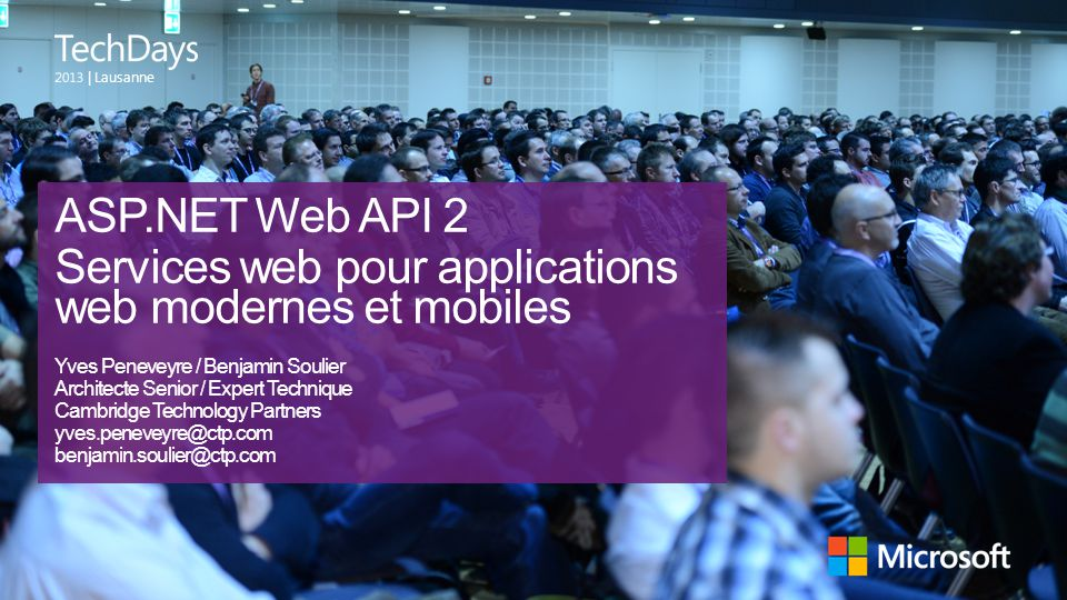 Quoi de neuf avec ASP.NET Web API 2 Redirection par attributs Intégration avec OWIN Test unitaire plus facile (IHttpActionResult) OData : $select, $expand Securité des Web API (OAuth 2.0)