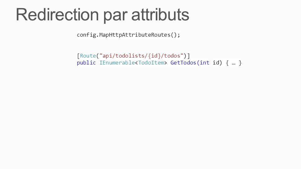 Redirection par attributs config.MapHttpAttributeRoutes(); [Route(
