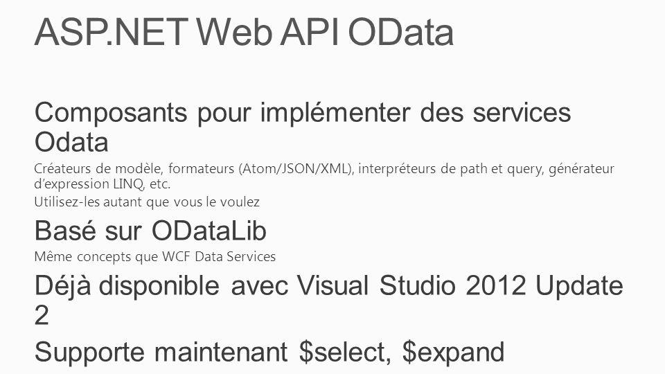 ASP.NET Web API OData Composants pour implémenter des services Odata Créateurs de modèle, formateurs (Atom/JSON/XML), interpréteurs de path et query, générateur d'expression LINQ, etc.