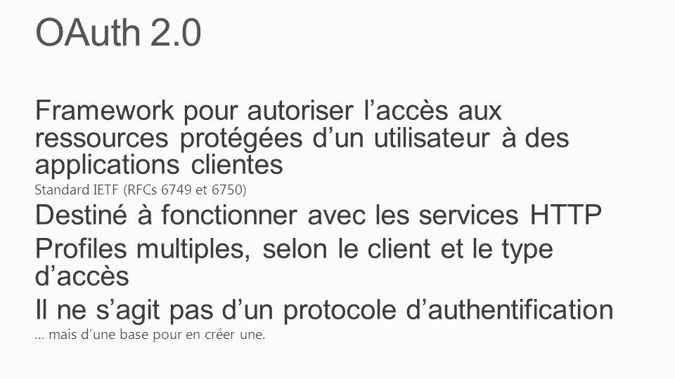 OAuth 2.0 Framework pour autoriser l'accès aux ressources protégées d'un utilisateur à des applications clientes Standard IETF (RFCs 6749 et 6750) Destiné à fonctionner avec les services HTTP Profiles multiples, selon le client et le type d'accès Il ne s'agit pas d'un protocole d'authentification … mais d'une base pour en créer une.