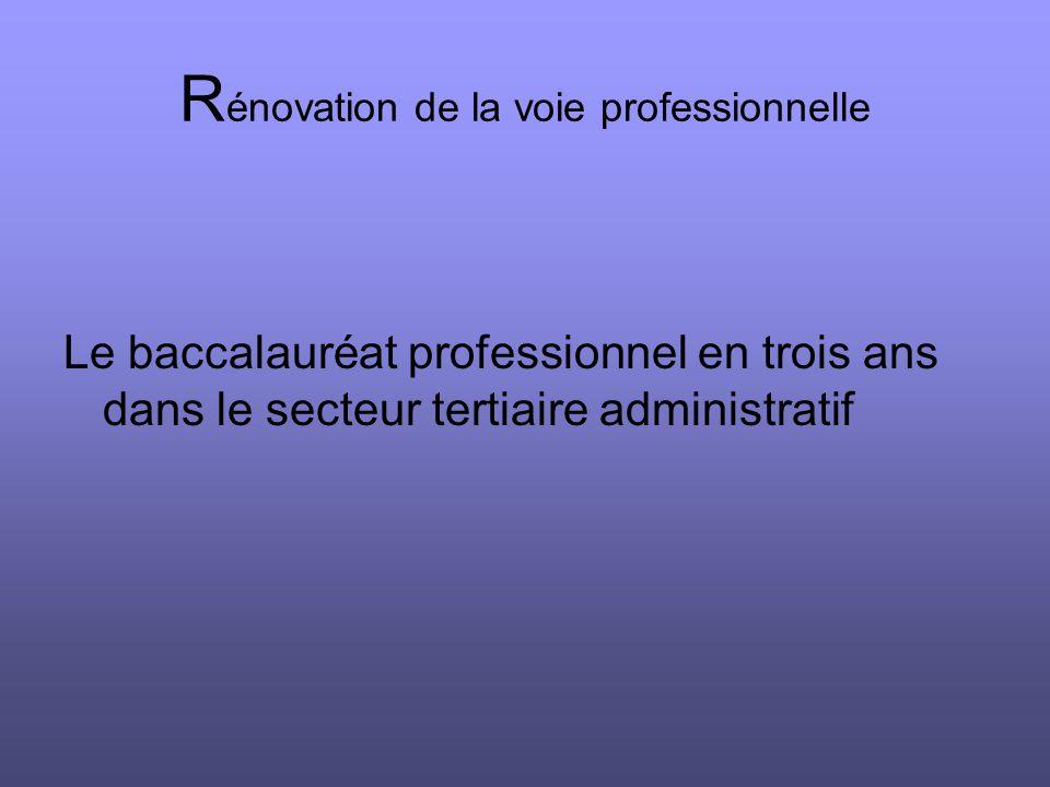 R énovation de la voie professionnelle Le baccalauréat professionnel en trois ans dans le secteur tertiaire administratif