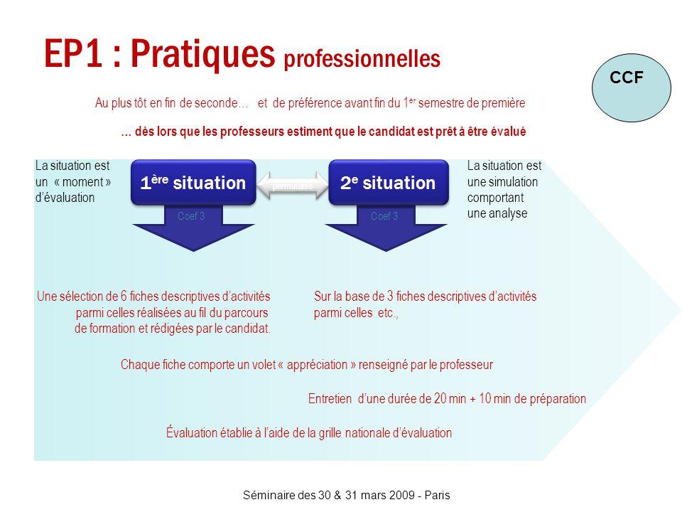 Séminaire des 30 & 31 mars 2009 - Paris EP1 : Pratiques professionnelles Au plus tôt en fin de seconde…et de préférence avant fin du 1 er semestre de
