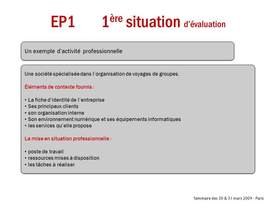 Séminaire des 30 & 31 mars 2009 - Paris EP1 1 ère situation d'évaluation Coef 3 Un exemple d'activité professionnelle Une société spécialisée dans l'o