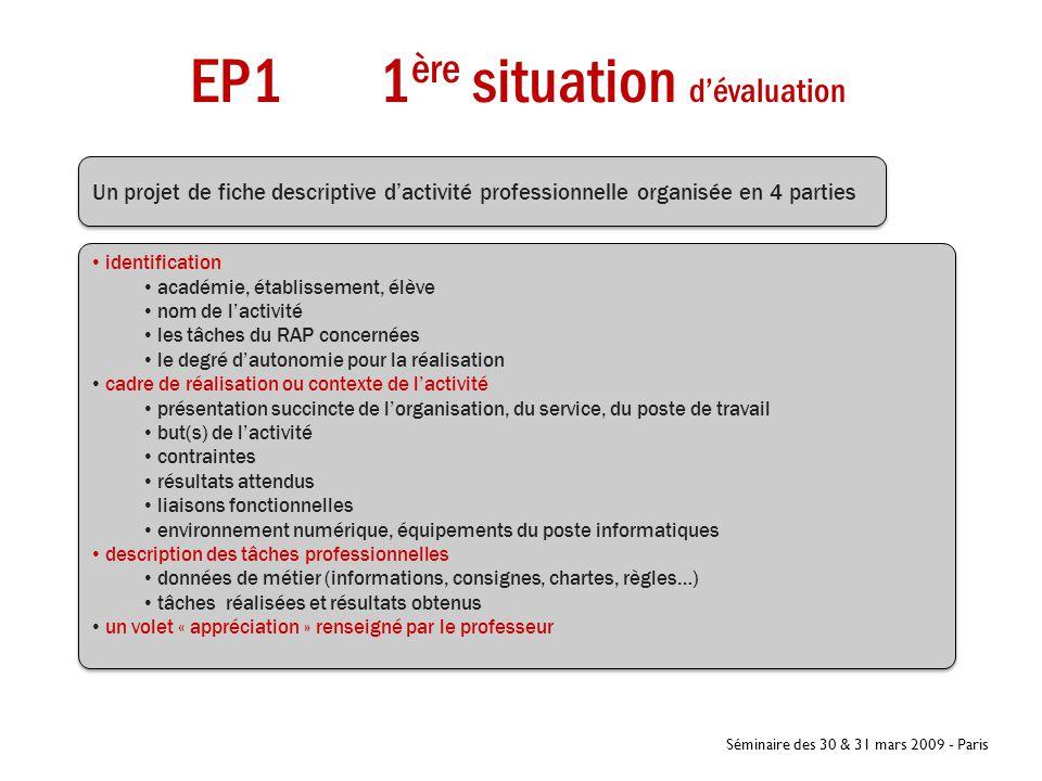Séminaire des 30 & 31 mars 2009 - Paris EP1 1 ère situation d'évaluation Coef 3 Un projet de fiche descriptive d'activité professionnelle organisée en