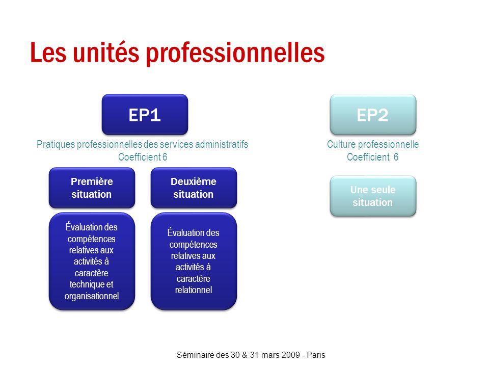 Les unités professionnelles Séminaire des 30 & 31 mars 2009 - Paris EP1 Pratiques professionnelles des services administratifs Coefficient 6 Culture p