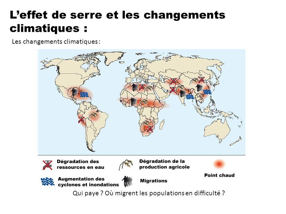 L'effet de serre et les changements climatiques : Les changements climatiques : Qui paye ? Où migrent les populations en difficulté ?