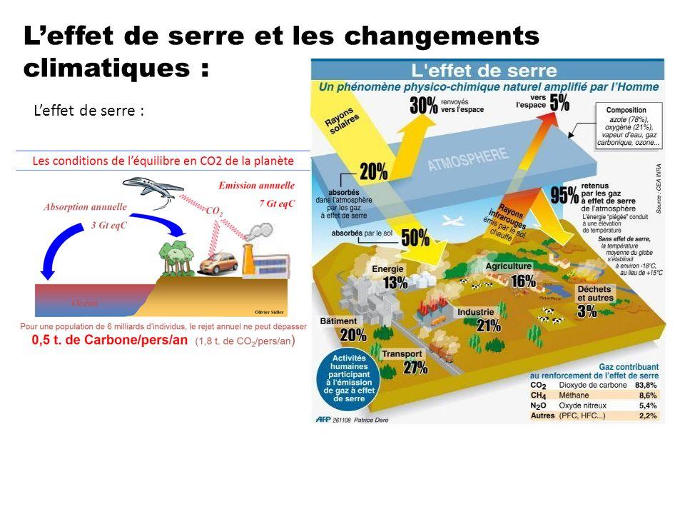L'effet de serre et les changements climatiques : L'effet de serre :