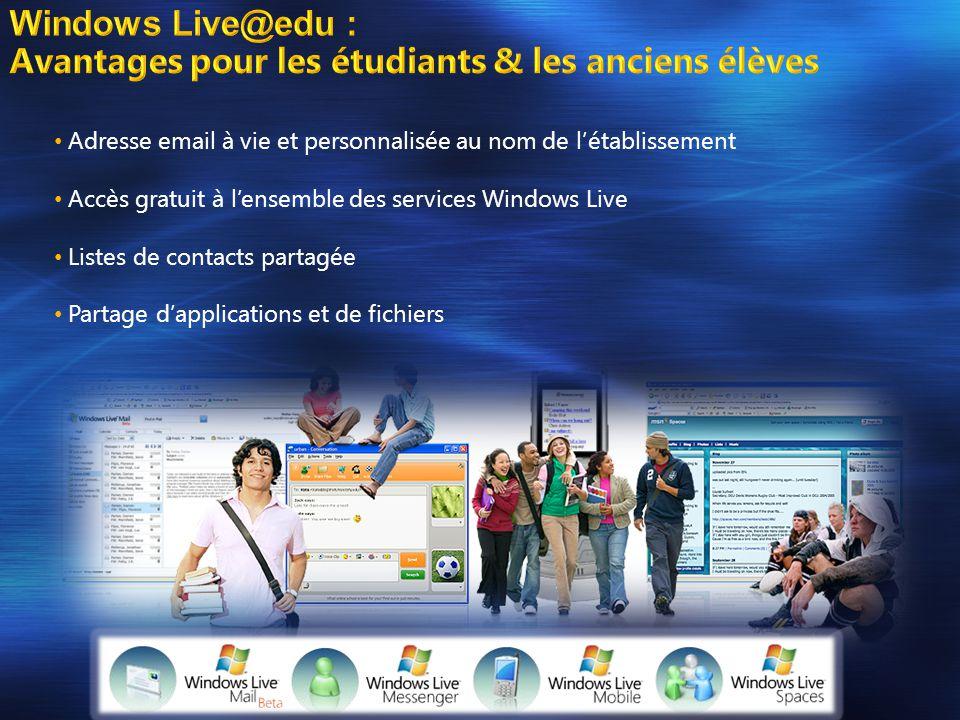 • Adresse email à vie et personnalisée au nom de l'établissement • Accès gratuit à l'ensemble des services Windows Live • Listes de contacts partagée • Partage d'applications et de fichiers