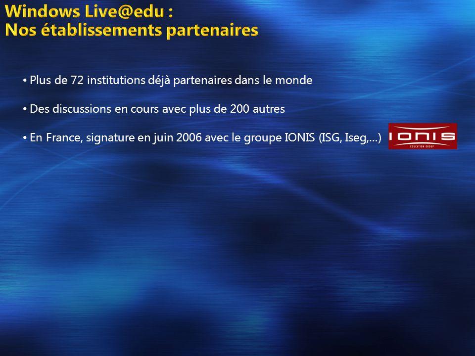 • Plus de 72 institutions déjà partenaires dans le monde • Des discussions en cours avec plus de 200 autres • En France, signature en juin 2006 avec le groupe IONIS (ISG, Iseg,…)