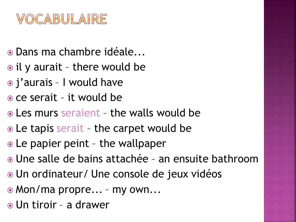  Dans ma chambre idéale...  il y aurait – there would be  j'aurais – I would have  ce serait – it would be  Les murs seraient – the walls would b
