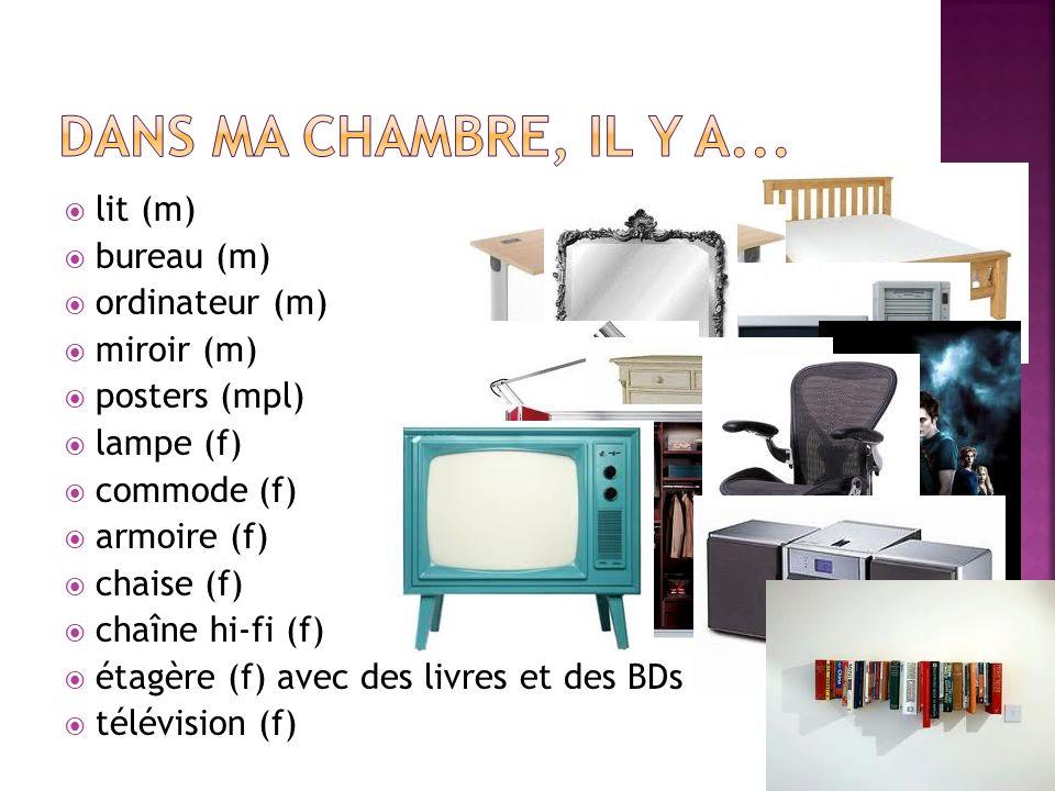  lit (m)  bureau (m)  ordinateur (m)  miroir (m)  posters (mpl)  lampe (f)  commode (f)  armoire (f)  chaise (f)  chaîne hi-fi (f)  étagère