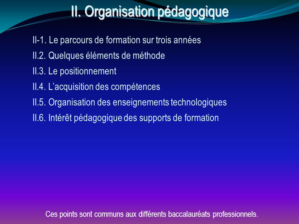 II. Organisation pédagogique II-1. Le parcours de formation sur trois années II.2. Quelques éléments de méthode II.3. Le positionnement II.4. L'acquis