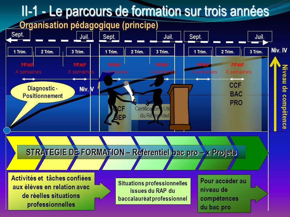 II - 1 - Le parcours de formation sur trois années Organisation pédagogique (principe) 1 Trim.2 Trim.3 Trim. Sept. Juil. Sept.Juil.Sept. 3 Trim. 1 Tri