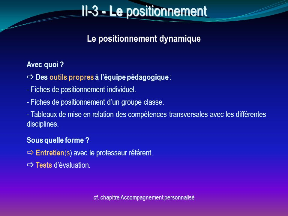 Le positionnement dynamique cf. chapitre Accompagnement personnalisé Avec quoi ?  Des outils propres à l'équipe pédagogique : - Fiches de positionnem
