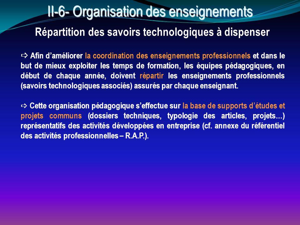 II-6- Organisation des enseignements Répartition des savoirs technologiques à dispenser  Afin d'améliorer la coordination des enseignements professio