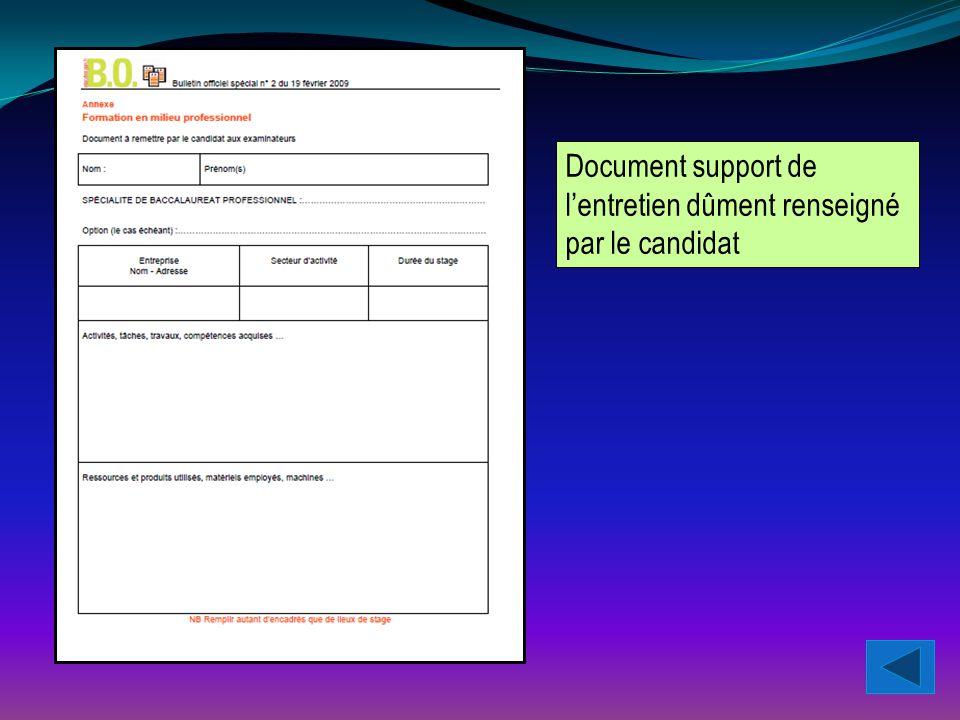 Document support de l'entretien dûment renseigné par le candidat