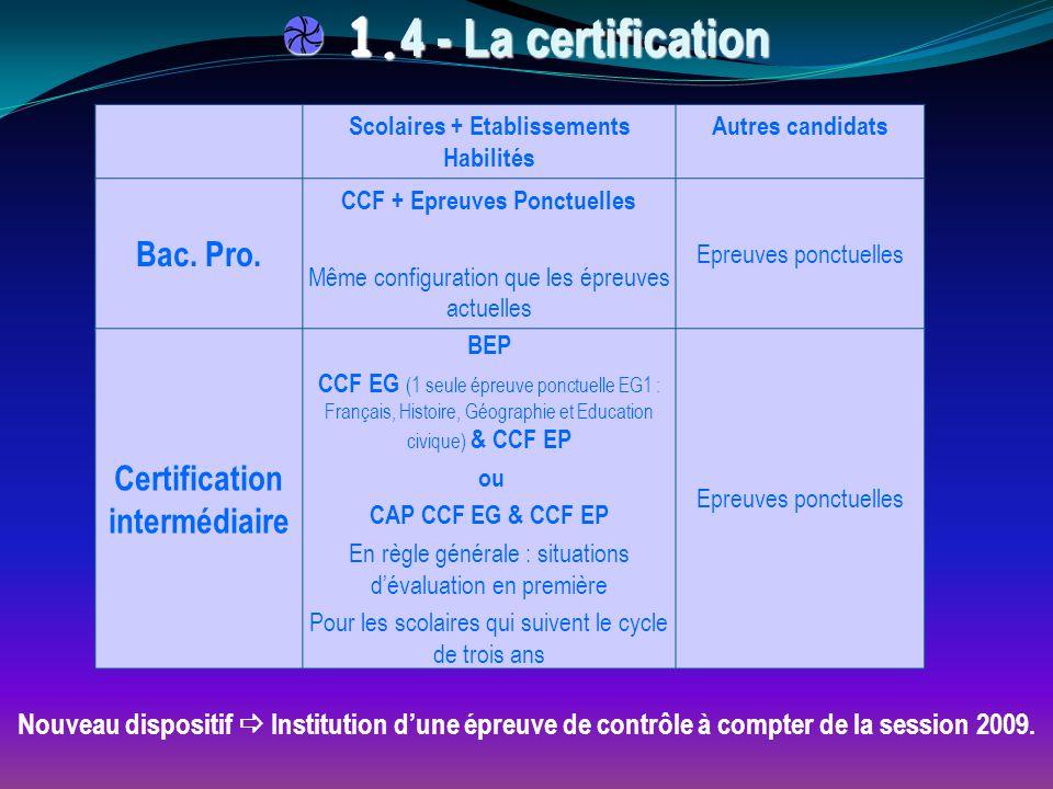 Nouveau dispositif  Institution d'une épreuve de contrôle à compter de la session 2009. 1. 4 - La certification 1. 4 - La certification Scolaires + E