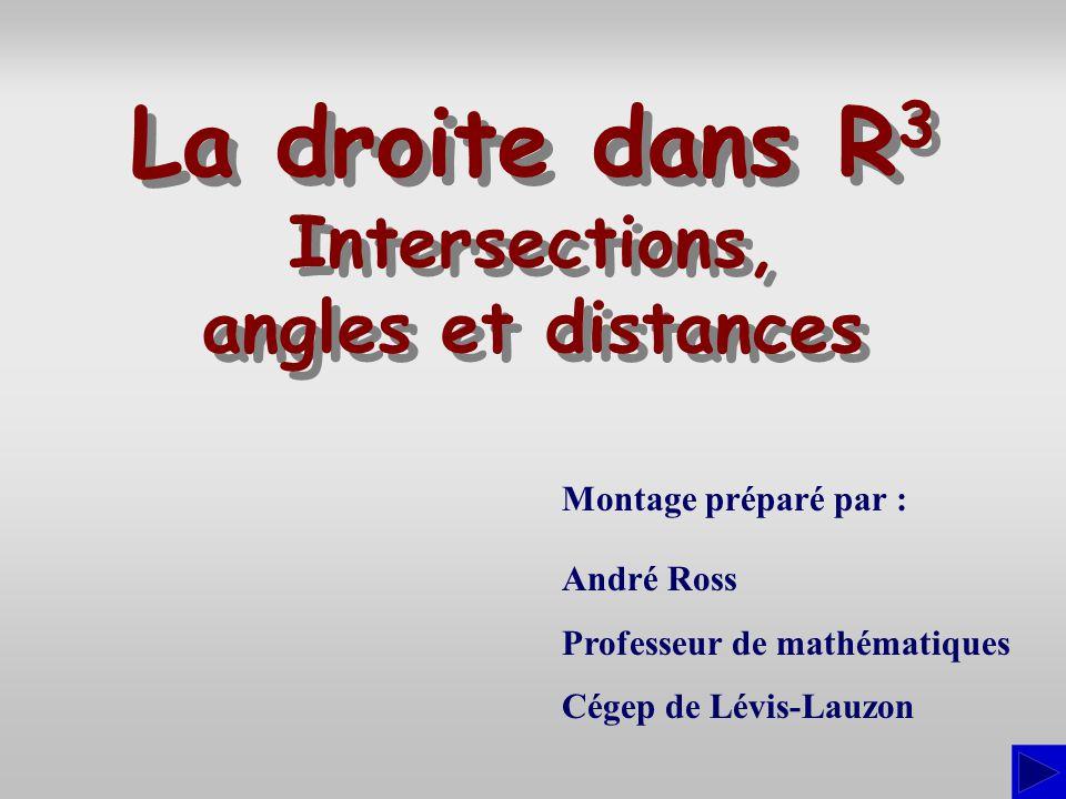 Montage préparé par : André Ross Professeur de mathématiques Cégep de Lévis-Lauzon La droite dans R 3 Intersections, angles et distances La droite dan