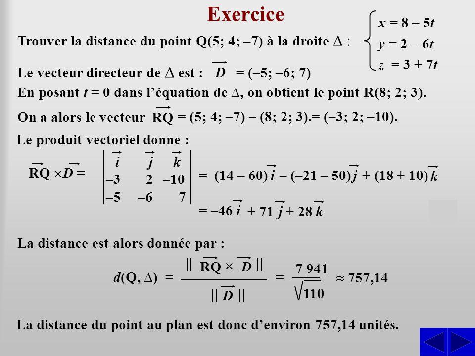 + (18 + 10) Exercice Trouver la distance du point Q(5; 4; –7) à la droite ∆ : Le vecteur directeur de ∆ est : SS = (–5; –6; 7) D x = 8 – 5t y = 2 – 6t