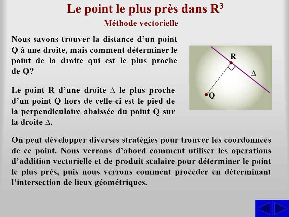 Le point le plus près dans R 3 Méthode vectorielle Nous savons trouver la distance d'un point Q à une droite, mais comment déterminer le point de la d