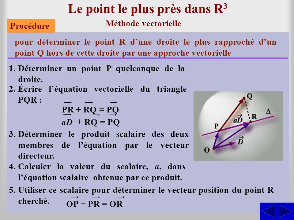Le point le plus près dans R 3 Méthode vectorielle pour déterminer le point R d'une droite le plus rapproché d'un point Q hors de cette droite par une