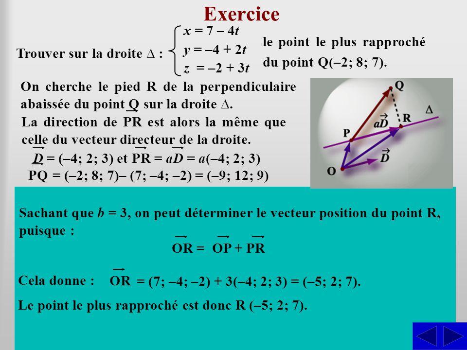 Exercice Trouver sur la droite ∆ : x = 7 – 4t y = –4 + 2t z = –2 + 3t le point le plus rapproché du point Q(–2; 8; 7). En déterminant la valeur de a,