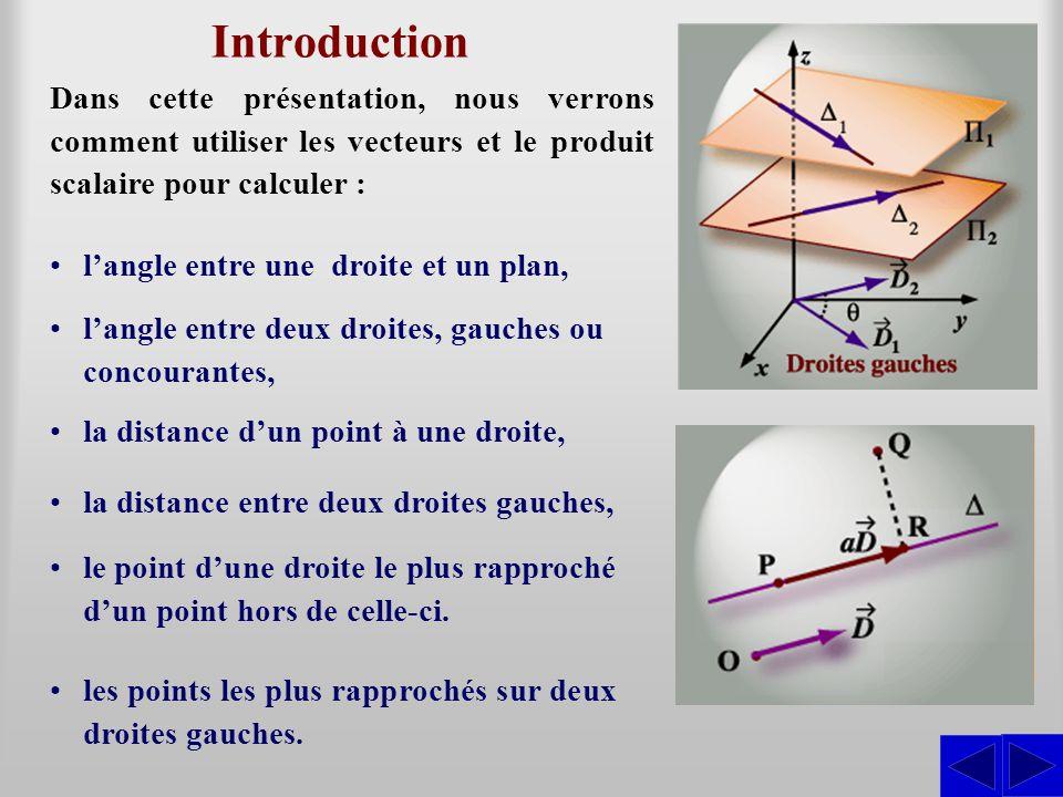 Introduction Dans cette présentation, nous verrons comment utiliser les vecteurs et le produit scalaire pour calculer : •l'angle entre deux droites, g