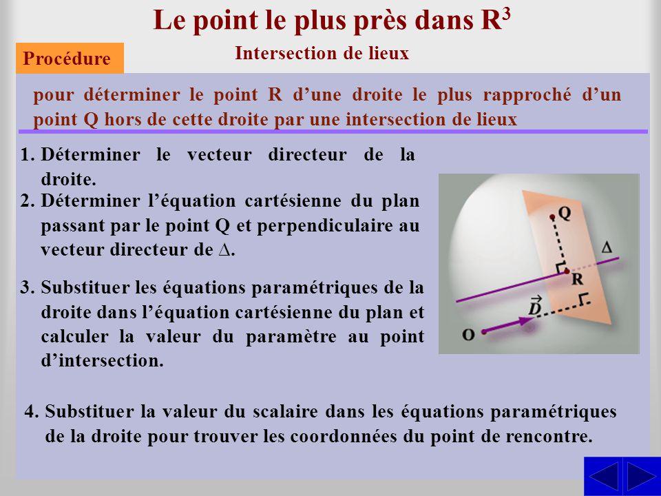 Le point le plus près dans R 3 Intersection de lieux pour déterminer le point R d'une droite le plus rapproché d'un point Q hors de cette droite par u