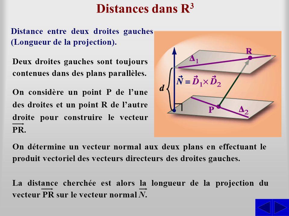 Distances dans R 3 Distance entre deux droites gauches (Longueur de la projection). Deux droites gauches sont toujours contenues dans des plans parall