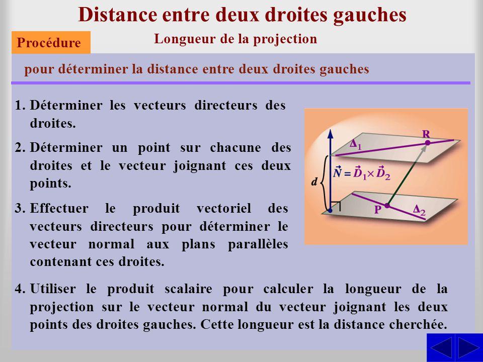 Distance entre deux droites gauches Longueur de la projection pour déterminer la distance entre deux droites gauches 1.Déterminer les vecteurs directe