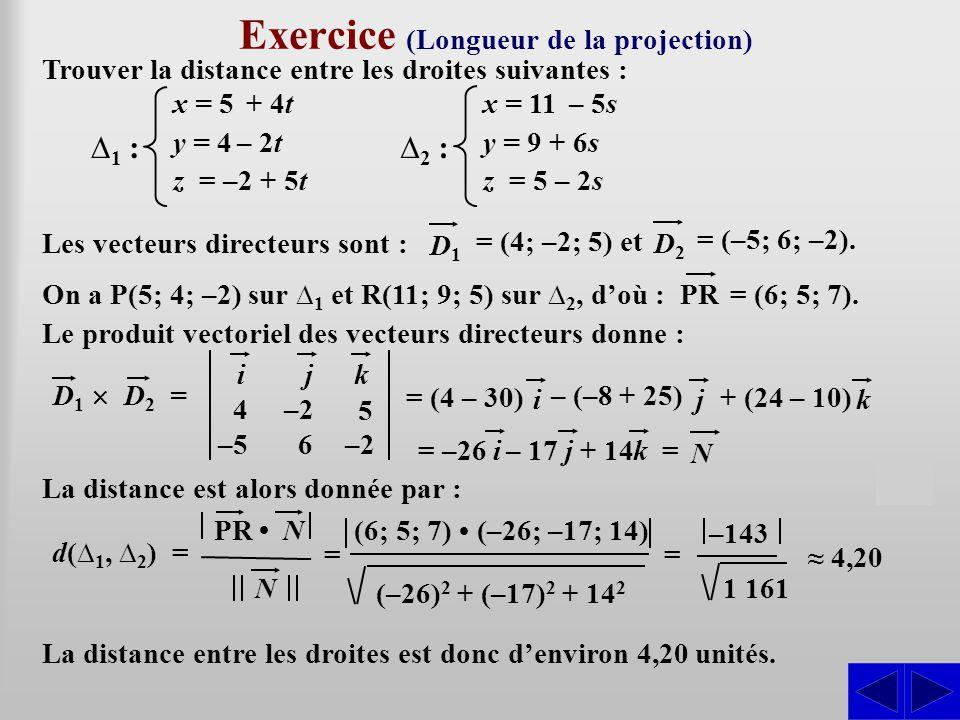 Exercice (Longueur de la projection) Trouver la distance entre les droites suivantes : Les vecteurs directeurs sont : SS = (4; –2; 5) et D1 D1 ∆1 ∆1 :