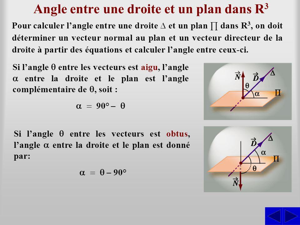 Exemple 12.3.1 Trouver l'angle entre le plan ∏: 2x – 3y + 4z – 5 = 0 et la droite Le vecteur normal au plan est : SS = (2; –3; 4) N ∆ : x = 2 – 3t y = –5 + 7t z = –3 – 2t et le vecteur directeur de la droite est : = (–3; 7; –2).