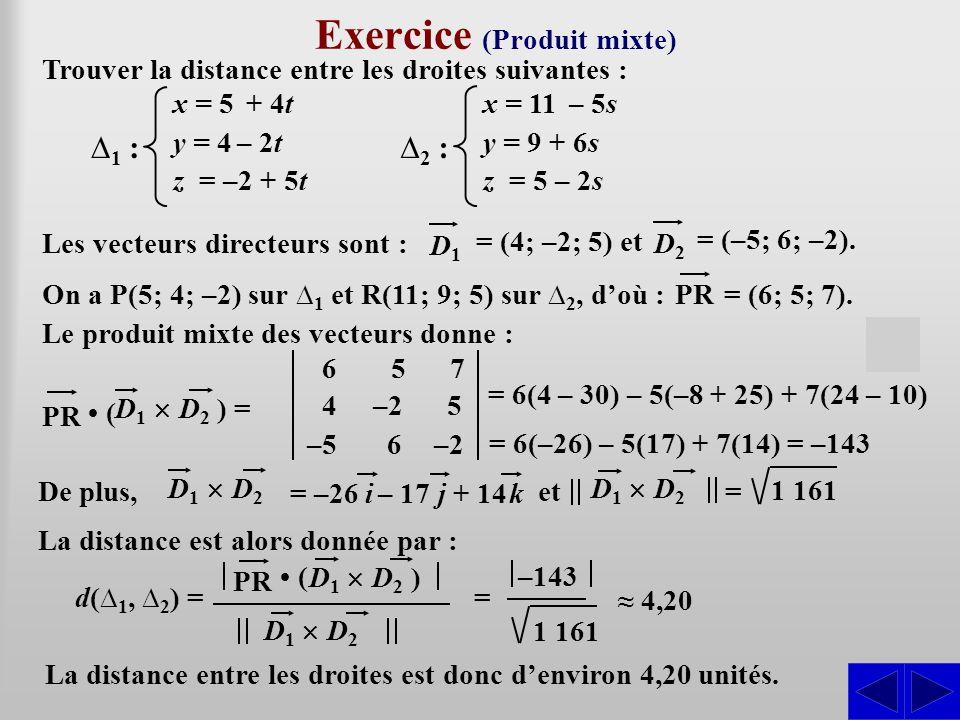Exercice (Produit mixte) Trouver la distance entre les droites suivantes : SS Le produit mixte des vecteurs donne : d(∆ 1, ∆ 2 )  = La distance est a