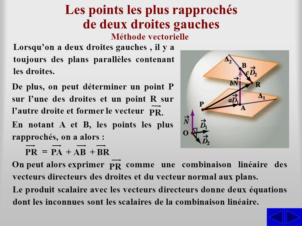 Les points les plus rapprochés de deux droites gauches Lorsqu'on a deux droites gauches, il y a toujours des plans parallèles contenant les droites. M