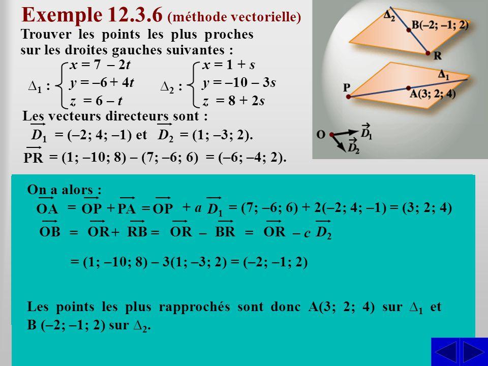 Les vecteurs directeurs sont : Exemple 12.3.6 (méthode vectorielle) Trouver les points les plus proches sur les droites gauches suivantes : SS = (–2;
