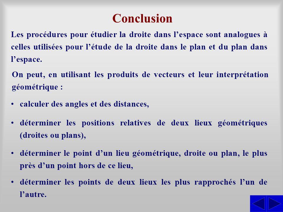Conclusion Les procédures pour étudier la droite dans l'espace sont analogues à celles utilisées pour l'étude de la droite dans le plan et du plan dan