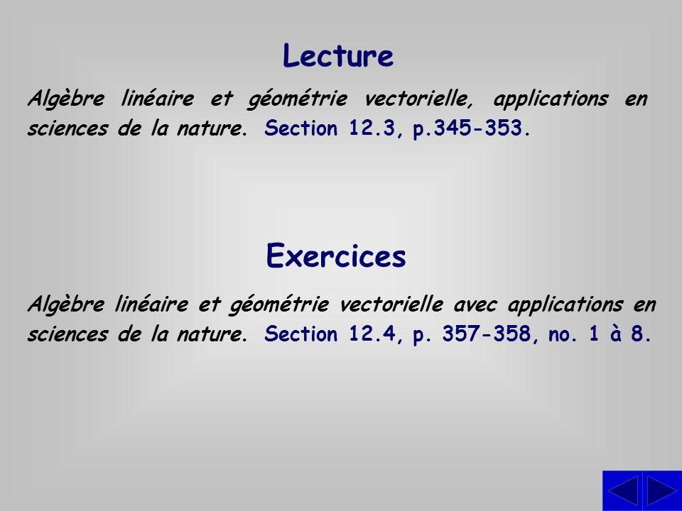 Lecture Algèbre linéaire et géométrie vectorielle, applications en sciences de la nature. Section 12.3, p.345-353. Exercices Algèbre linéaire et géomé