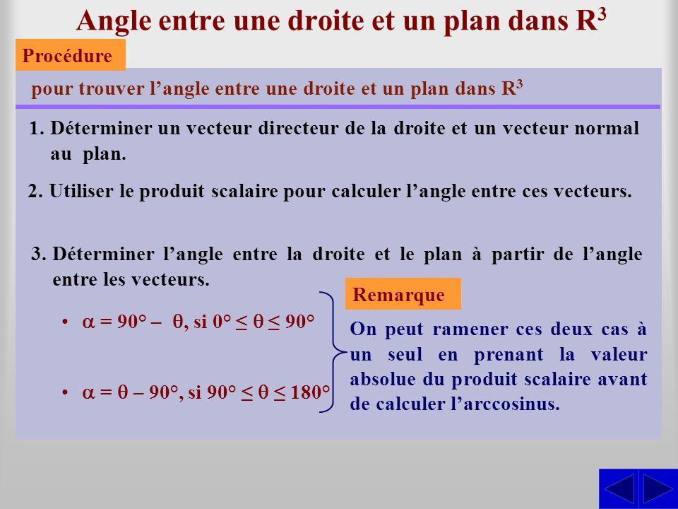 Exercice Trouver l'angle entre le plan ∏: 3x – 5y + 2z – 12 = 0 et la droite Le vecteur normal au plan est : SS = (3; –5; 2) N ∆ : x = 4 + 5t y = –2 – 3t z = 7 + 4t et le vecteur directeur de la droite est : = (5; –3; 4).